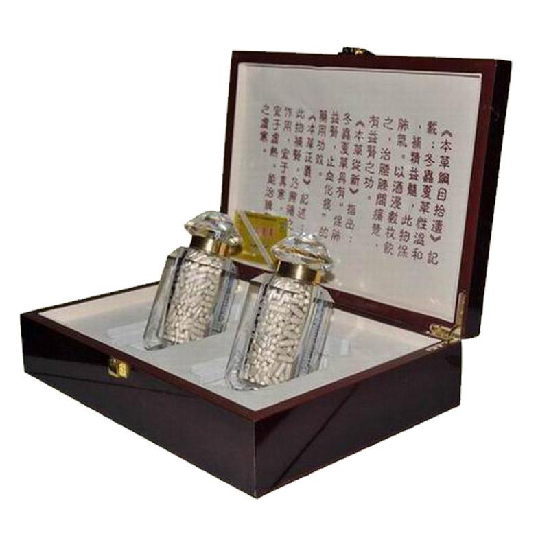 藏雪玛牌冬虫夏草胶囊礼盒装高档木盒水晶瓶 200粒×2瓶